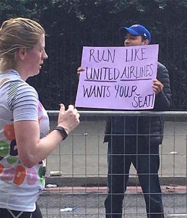 Run, Forrest, Run! ~ 33 funny pics & Memes ~ funny sign at marathons, run like united airlines wants your seat