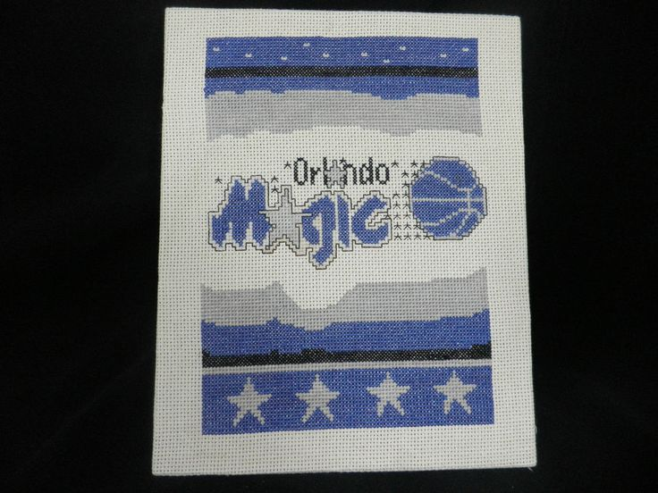 Vtg Orlando Magic Cross Stitch Poster Picture Embroidered Penny Foamposite NBA #OrlandoMagic #tcpkickz