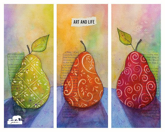 Watercolor Art Print. Three Pear Collage. Stenciled by GinaLeeKim