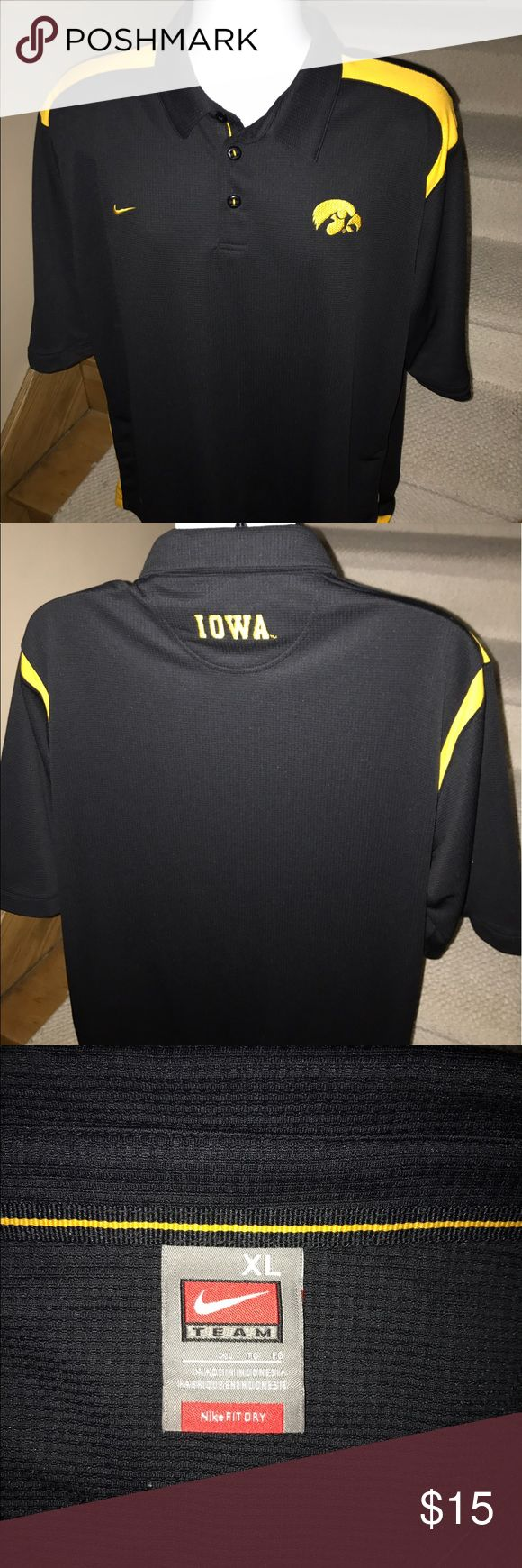 Nike fit dri Iowa Hawkeyes casual golf polo shirt Exclusive men's Nike moisture wicking Iowa Hawkeyes golf polo shirt that is sized XL.  Perfect mint condition.  Made out of Fit Dry wicking polyester.  You won't be disappointed. Nike Shirts Polos