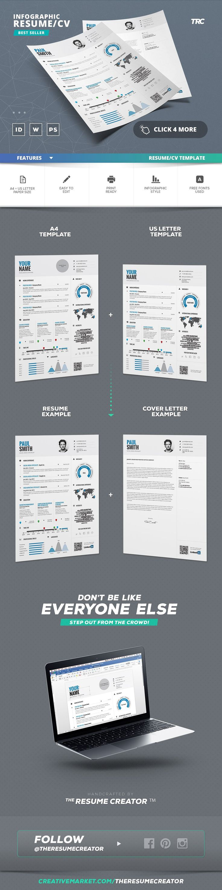 good objective on a resume%0A Infographic Resume Cv Template Vol   by TheResumeCreator on  creativemarket