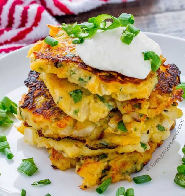 Loaded Mashed Potato Cakes | 16 Homemade Mashed Potatoes Recipes To Enjoy On Thanksgiving | The Best Holiday Recipes for the Whole Family by Homemade Recipes at http://homemaderecipes.com/homemade-mashed-potatoes-recipes/