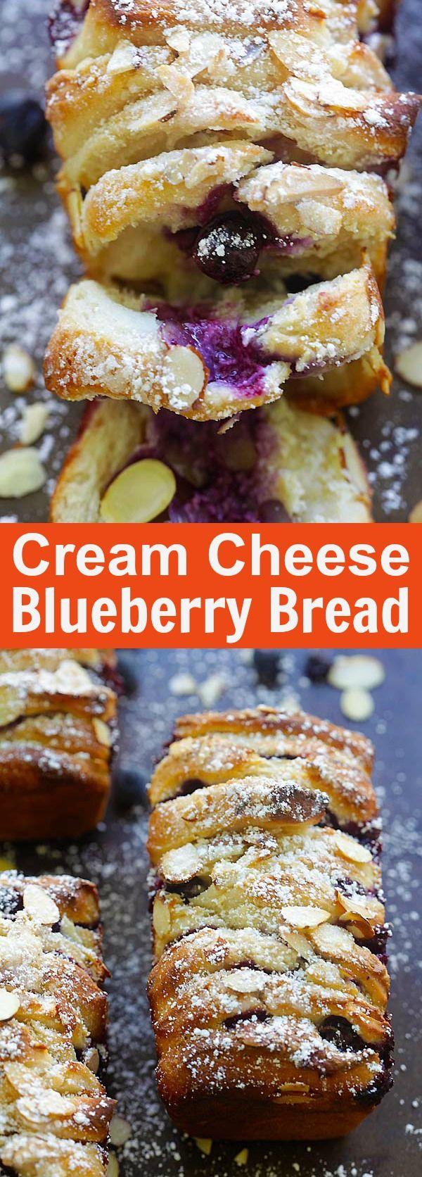Blueberry-Cream Cheese Pull-Apart Bread – the best pull-apart bread loaded with cream cheese and blueberries. So delicious   rasamalaysia.com