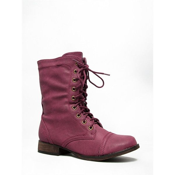GEORGIA-32 Boot ($32) ❤ liked on Polyvore featuring shoes, boots, red, red combat boots, breckelles boots, red boots, lace military boots and breckelles shoes