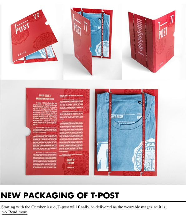 T-Post, the world's first wearable magazine, redesigned their packaging for the October issue #nice package