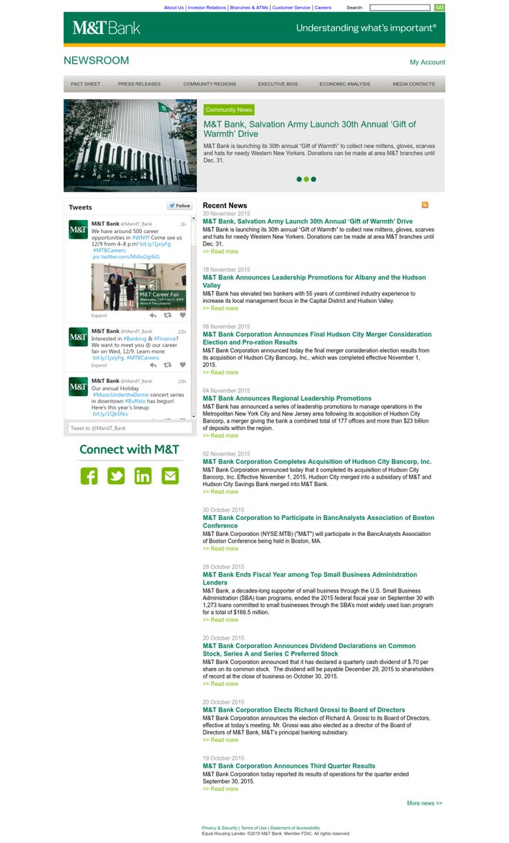 M&T Bank recently launches online newsroom.  It includes news releases, research reports, social media content and executive bios.
