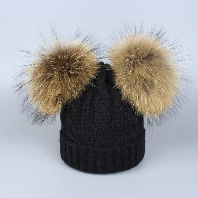0160a309283 Real Fur Winter Hat Raccoon Two Pom Pom Hat For Women Brand Thick Women Hat  Girls Caps Knitted Beanies Cap Wholesale 2018 New