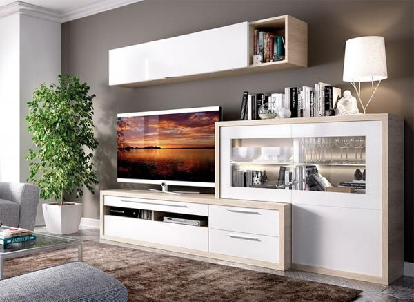 Modern Rimobel Duo TV Unit, Wall Cabinet and Cabinet in Natural and High Gloss White