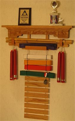Belt display with Martial Arts weapons holder
