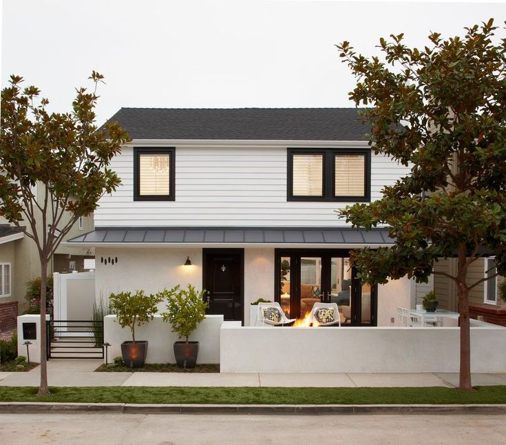Home Design: White Stucco House Exterior Transitional With Tree Modern  Outdoor Fearsome Photos Ideas Home