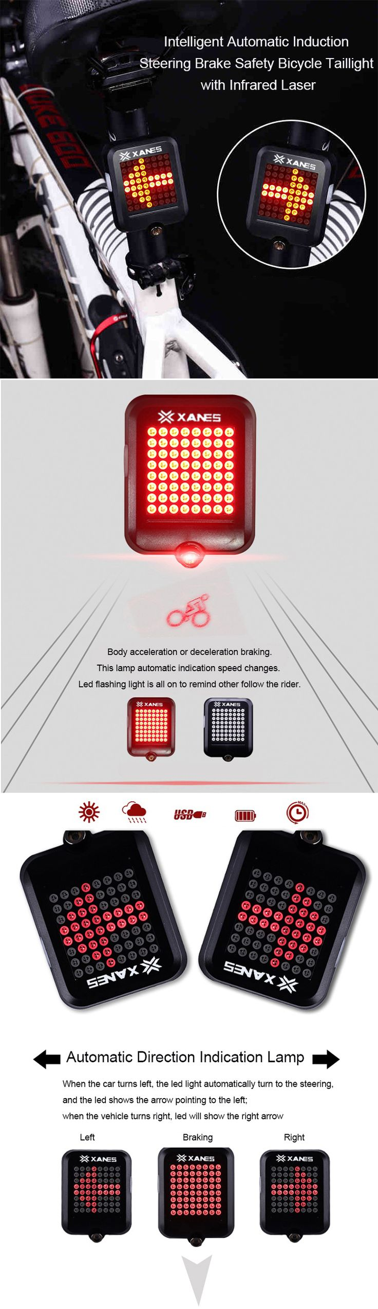 XANES STL-01 64 LED 80LM Intelligent Automatic Induction Steel Ring Brake Safety Bicycle Taillight with Infrared Laser Warning Waterproof Night Light USB Charging