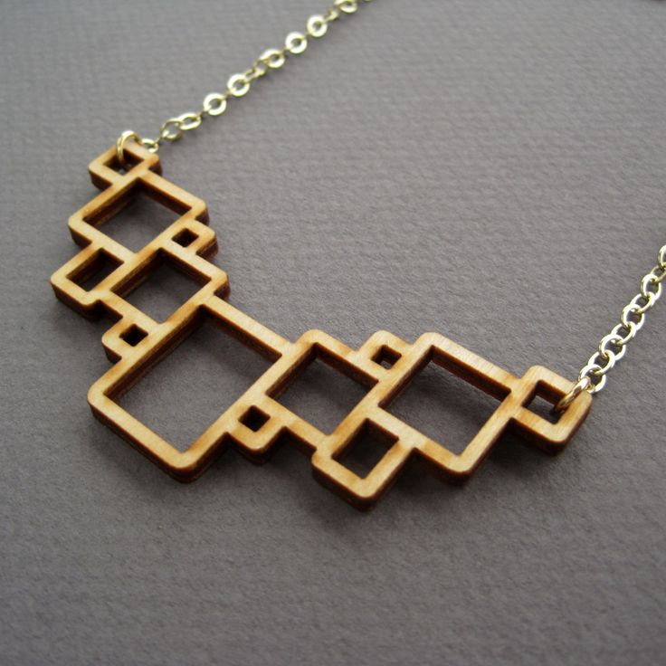Geometric Jewelry, Laser Cut Wood Necklace, Modern Squares. $45.00, via Etsy.