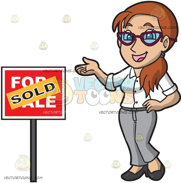 A Smart Female Real Estate Agent Completes A Sale Of A Property:   A woman with brown hair in wearing a white collar shirt gray pants black shoes eyeglasses smiles as she stands beside a red for sale sign that has an orange sold sticker plastered on it