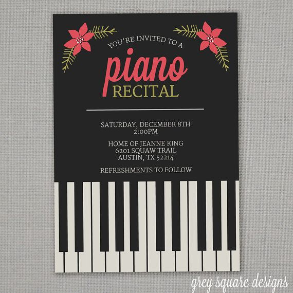 26 best piano recital invitations images on pinterest piano piano recital invitation with flowers printable custom pronofoot35fo Image collections