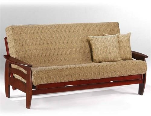 Corona Loveseat Lounger Futon Frame - Rosewood Finish. Corona Loveseat Lounger Futon Frame The Corona, one of the jewels in the crown of the Standard Collection with its pleasing shape and its rising curves. A contemporary look and a good value. Our Standard Collection wood futon.. . See More Futon Frames at http://www.ourgreatshop.com/Futon-Frames-C1037.aspx