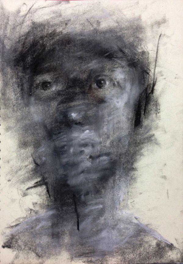 [90] untitled charcoal  on canvas 162 x 96 cm 2013 by KwangHo Shin, via Behance