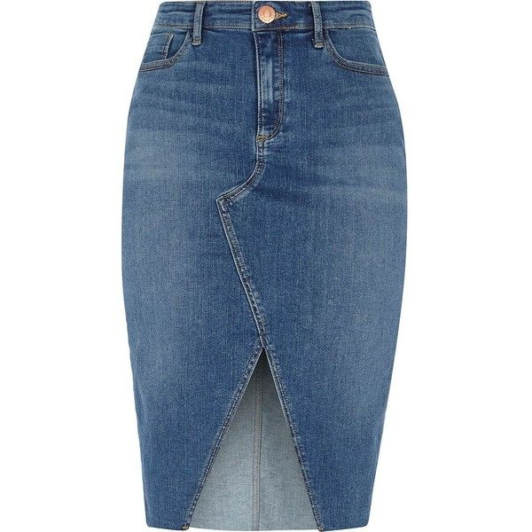 River Island Mid blue front split denim pencil skirt found on Polyvore featuring polyvore, women's fashion, clothing, skirts, blue, midi skirts, women, pencil skirts, blue pencil skirt and mid calf denim skirt