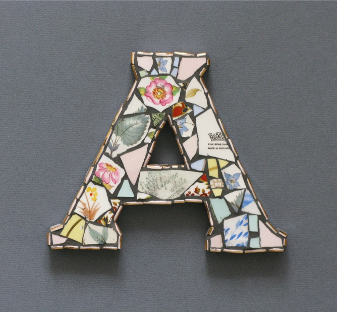 shabby chic mosaic letters, use them to spell out a word or as initials!