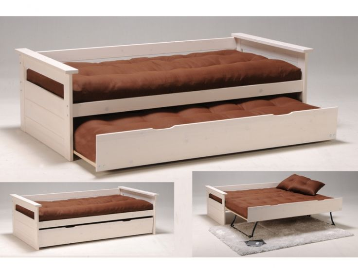 Banquette lit gigogne ALFONSO - 90x190cm - Sapin blanchi