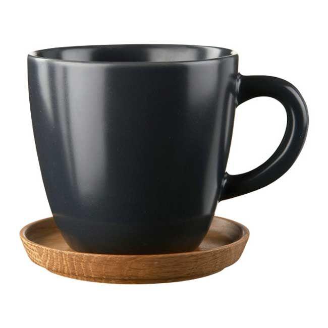 Kaffekrus med Treskål, 33 cl, Grå Matt - Front - Höganäs - RoyalDesign.no 