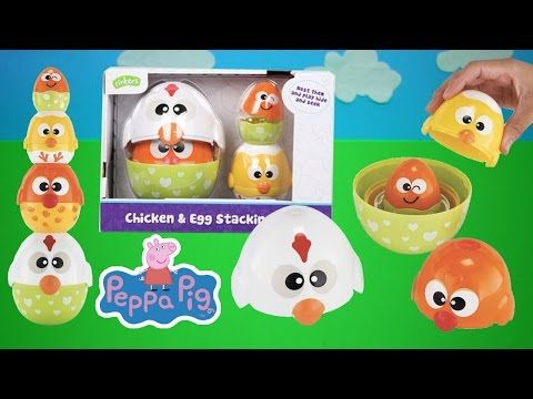 Chicken and Egg Stacking Cups with Surprise Peppa Pig Toys | Kids Play O'clock - YouTube