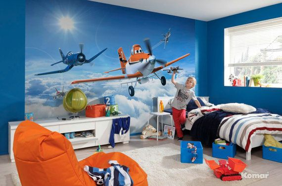 """Photo Wall Mural Photography Wallpaper Disney Planes """"Above the Clouds"""" - Children's Art Wall Decal"""
