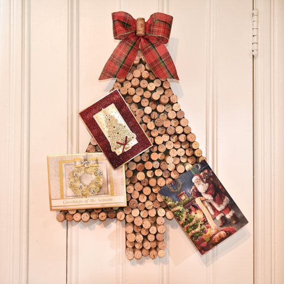 The Wine Cork Christmas Tree Card Holder by uncorked by Kimberly is the perfect solution for displaying your annual christmas cards while