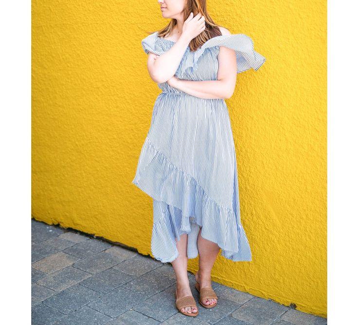 Striped OTS Midi Dress - New Arrivals