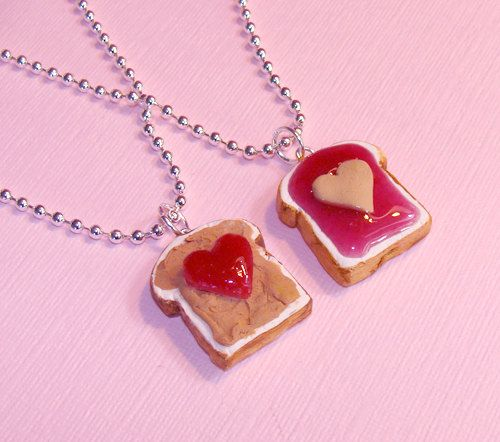Best Friends Necklace Set BFF Peanut Butter and Jelly Heart Necklace - Polymer Clay Miniature Food Jewelry