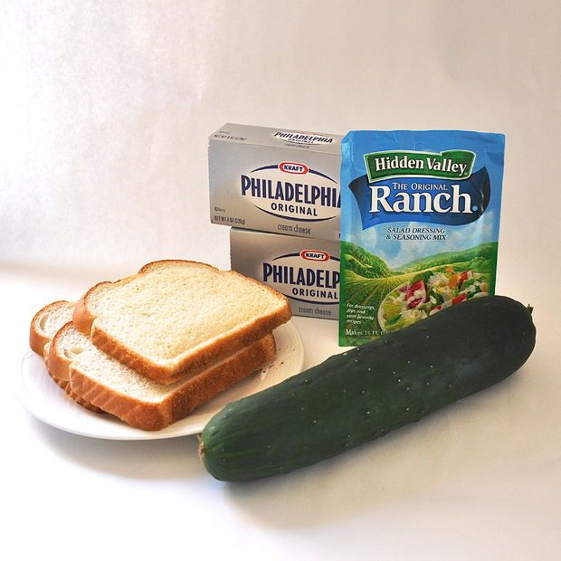 Cucumber sandwiches...would do larger sandwich with bread on top. Maybe dice cucumbers?