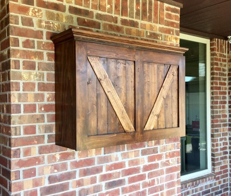 Outdoor TV cabinet mounted to outside wall for patio