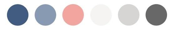 Colour scheme: slate blues, greys, coral