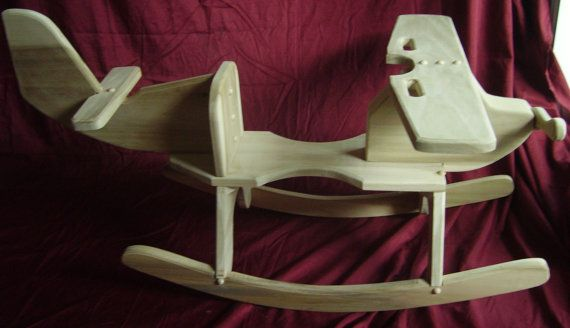 Childrens Wooden Airplane Rocking Chair By
