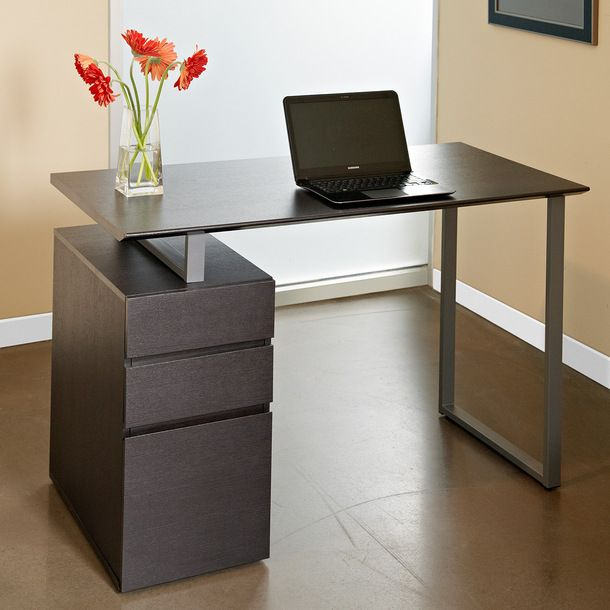computer desk with drawers brown - Computer Desk For Small Spaces