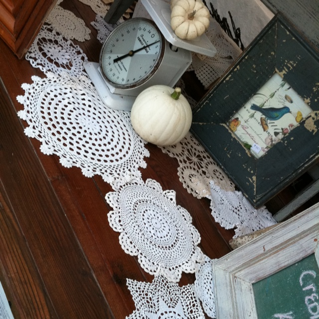 Handcrafted Harvest Table Using All Reclaimed Materials   Made By Dan.  Vintage Doilies Connected To