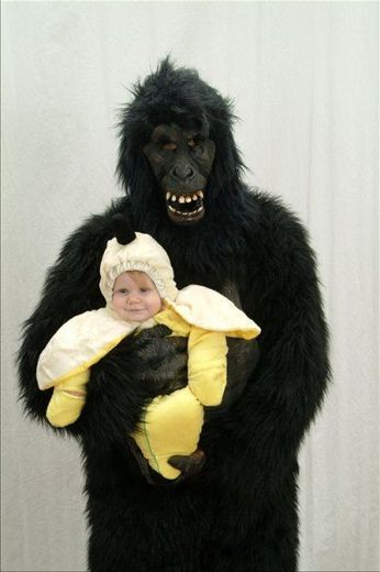 gorilla and banana parent and kid halloween costume - Banana Costume Halloween
