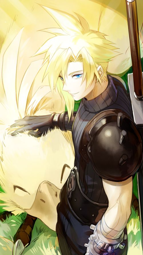 Final Fantasy VII - Cloud Strife and a Chocobo by Rnia