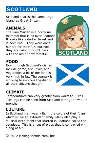 Scotland Fact Card for your Girl Scout World Thinking Day or International celebration. Free printable available at MakingFriends.com. Fits perfectly in the World Thinking Passport, also available at MakingFriends.com