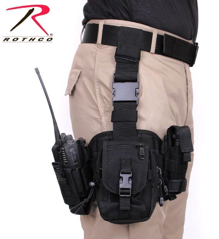 Black Drop Leg Tactical Pouch - Removable MOLLE Adjustable Rig Utility Pouches