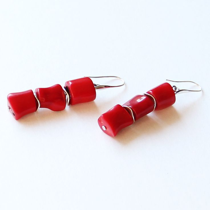 Salmon Coral Earrings, Red earrings, Coral earrings, Handmade coral earrings, Silver Sterling earrings by TaniaMironovaJewelry on Etsy