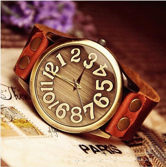 Handmade vintage retro leather men's wrist watch (WAT0022)