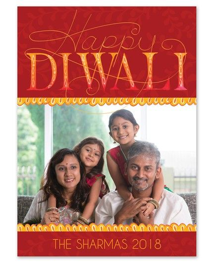 Diwali Trimmings Photo Cards - Celebrations #greetingcard #stationery