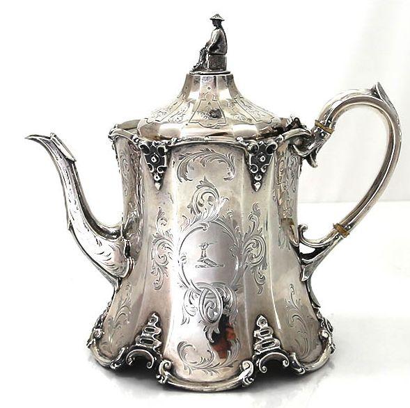 English Silver Antique Teapot – 1858.