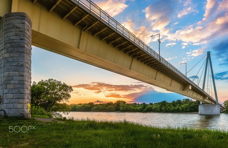 Donaubrücke Hainburg - Danube bridge in Hainburg, Austria, during sunset time. This bridge was completed in 1972.