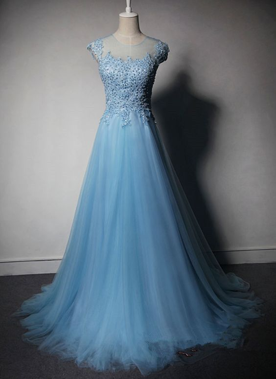pretty blue tulle prom gown, #promdress, #bluepromgown, #prom2k16