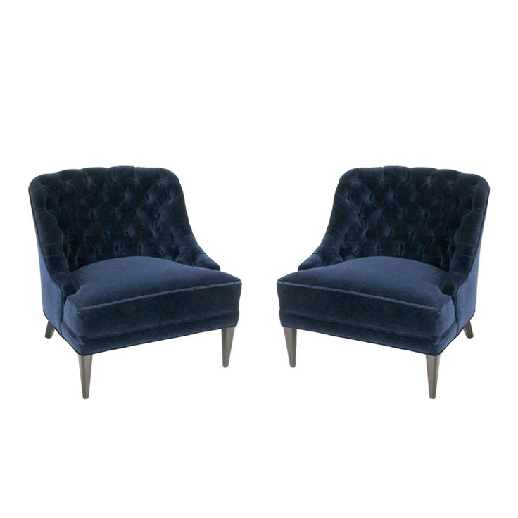 Best Pair Of Navy Blue Velvet Tufted Back Lounge Chairs Toy 400 x 300