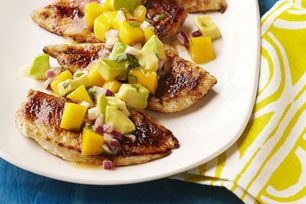 The luscious mango-avocado salsa is a perfect complement to the fragrant pan-fried chicken. Try our Mango Salsa Chicken recipe tonight!