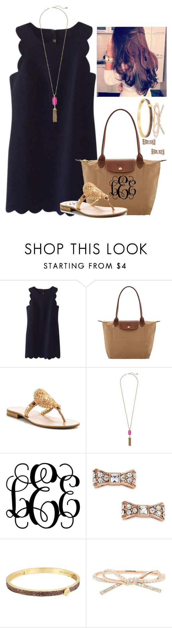 I now want a scalloped dress!! by flroasburn ❤ liked on Polyvore featuring J.Crew, Longchamp, Jack Rogers, Kendra Scott and Kate Spade