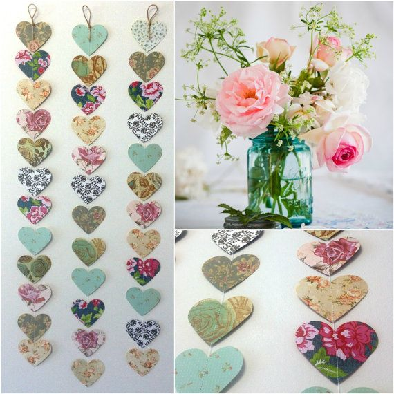 Vintage Roses Paper Heart Garland - shabby chic wedding decoration, party decoration, baby shower decoration, high tea