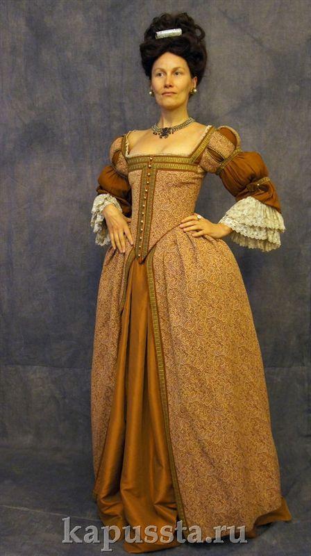 Платье барочное в парике с диадемой